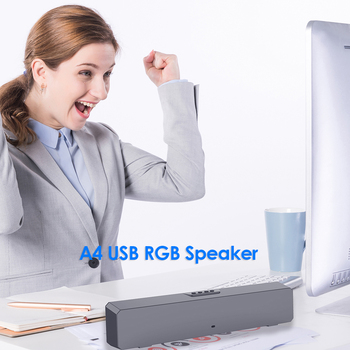 A4 6W RGB USB Wired Powerful Computer Speaker Bar Stereo Subwoofer Bass speaker Surround Sound Box for PC Theater TV Speaker 5