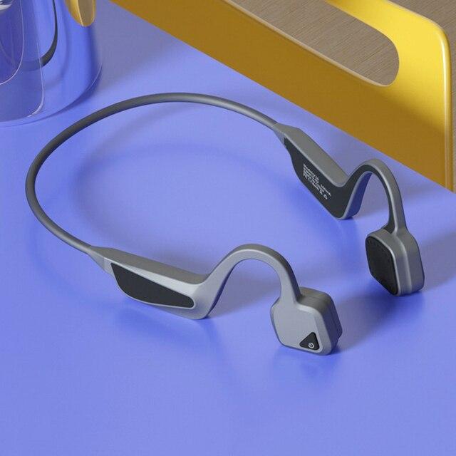 SANLEPUS V10 auriculares de conducción ósea inalámbricos, Auriculares deportivos de oreja abierta, HD, para llamadas, a prueba de agua IPX6, para correr, BT 5,0