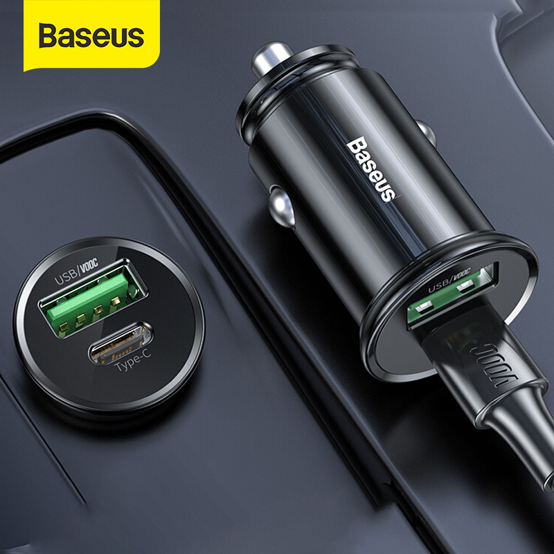 Baseus 5A Auto Ladegerät USB Typ C Port Für 12-24V Auto Zigarette Buchse Unterstützung PPS PD 3,0 VOOC QC 3,0 Auto Schnelle Lade Adapter