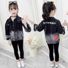 Kids Girls Black Jacket Gradient Jeans Denim Jacket For Girls 4 5 6 7 8 9 10 11 12 13 Years Spring Autumn Casual Outerwear Coat girls sport jacket suit winter autumn fall outfit jersey suit costumes teens jacket for kids age 4 5 6 7 8 9 10 11 12t years old