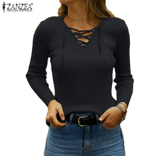 Women Knitted Sexy V Neck Sweater Casual Jumper Fashion 2020 ZANZEA Slim Elasticity Pullovers Long Sleeve Autumn Knitwear 5XL 7