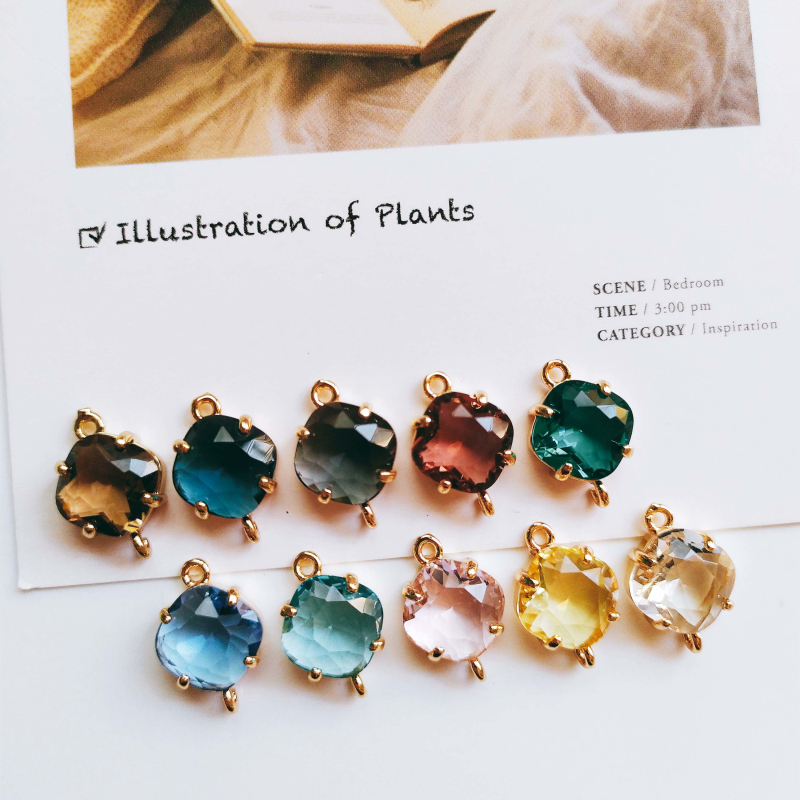 Glass Mixed Color Rhombus Eardrop Alloy Necklace Earring Accessories Charms Pendant Jewelry Making Diy Handmade Material 6pcs