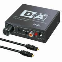 Convertidor de Audio Digital a analógico R/L adaptador de Audio óptico a RCA Toslink Coaxial a analógico RCA 3,5mm Jack decodificador de Audio