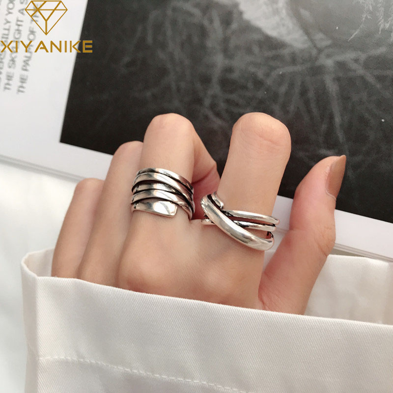 XIYANIKE 925 Sterling Silver Vintage Weaving Rings For Women Couple Simple Geometric Party Accessories Gift Jewelry Adjustable