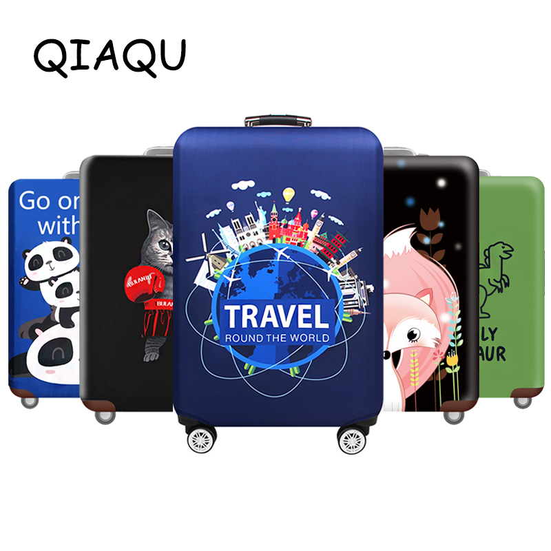 QIAQU Elastic World Travel Luggage Protective Cover New Animal Pattern Suit 18-32 Inch Suitcase Cover Quality Travel Accessories