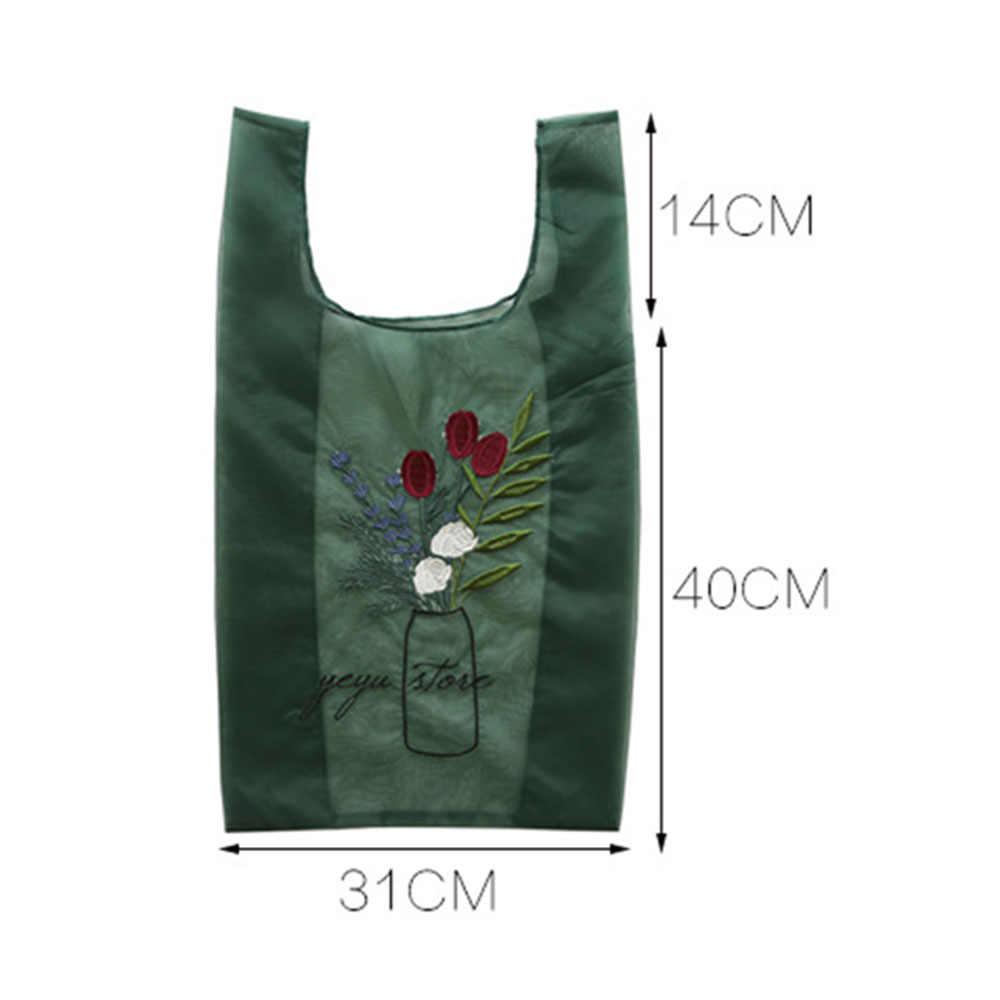 Kobiety przezroczysty Tote przędza z organzy tkaniny torba na plażę haft torebka wysokiej jakości Eco wyczyść torebki torebka dla dziewczynek