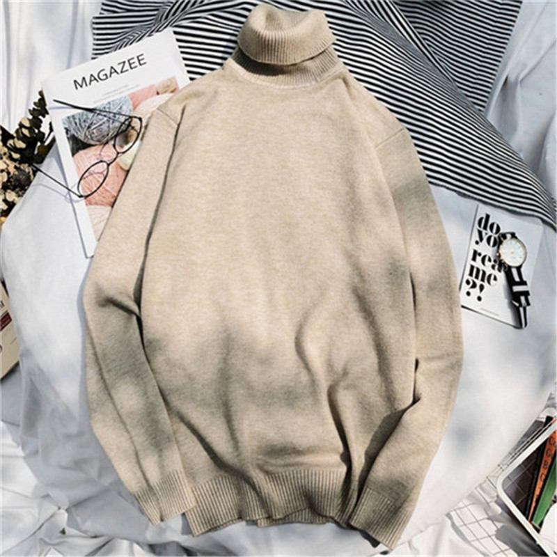 Winter High Collar Thick Warm Sweater Men Turtleneck Mens Sweaters And Pullover Tops Slim Fit Sweaters Male Knitwear Casual Wear