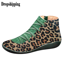 Women's sneakers leopard round head tie side zipper casual booties women boots autumn and winter comfortable soft flat shoes #ZB(China)