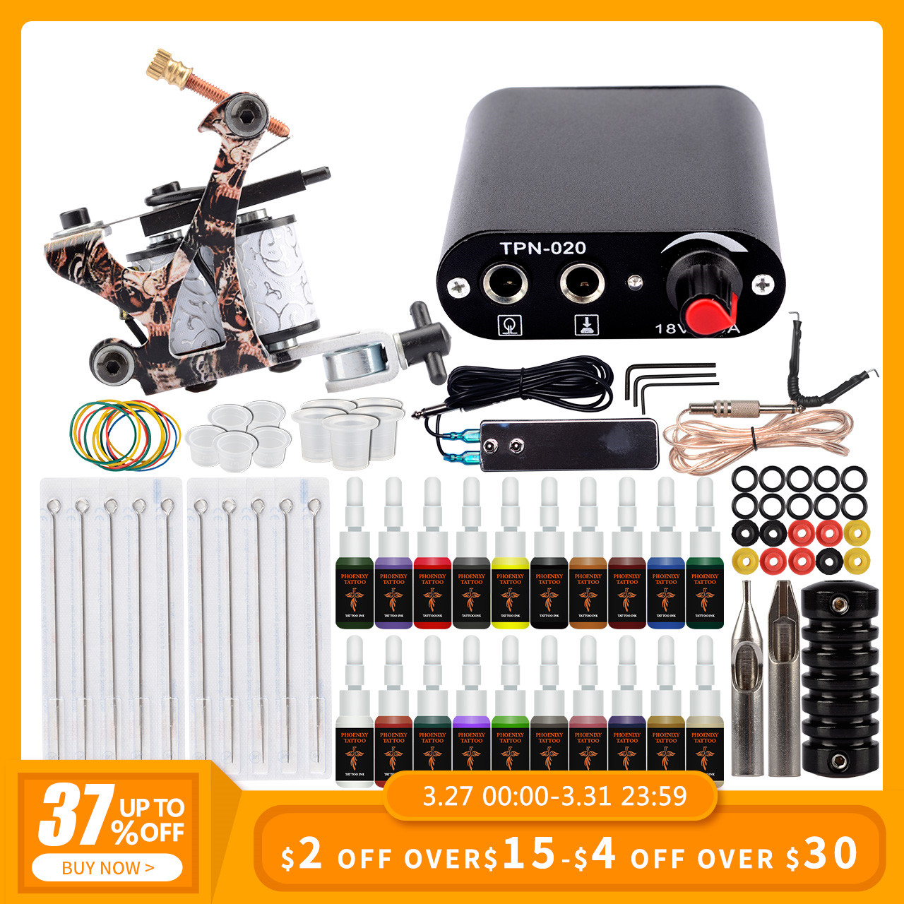 Professional Tattoo Machine Set Tattoo Kit 1 Tattoo Machine Gun 20 Colors Inks Pigment Set Permanent Makeup Beginner Tattoo Set
