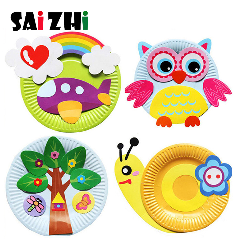 Saizhi DIY Cartoon Handicrafts Toy For Children Handmade Craft Animal Puzzle Paper Tray Painting Backpack Creative Education Toy
