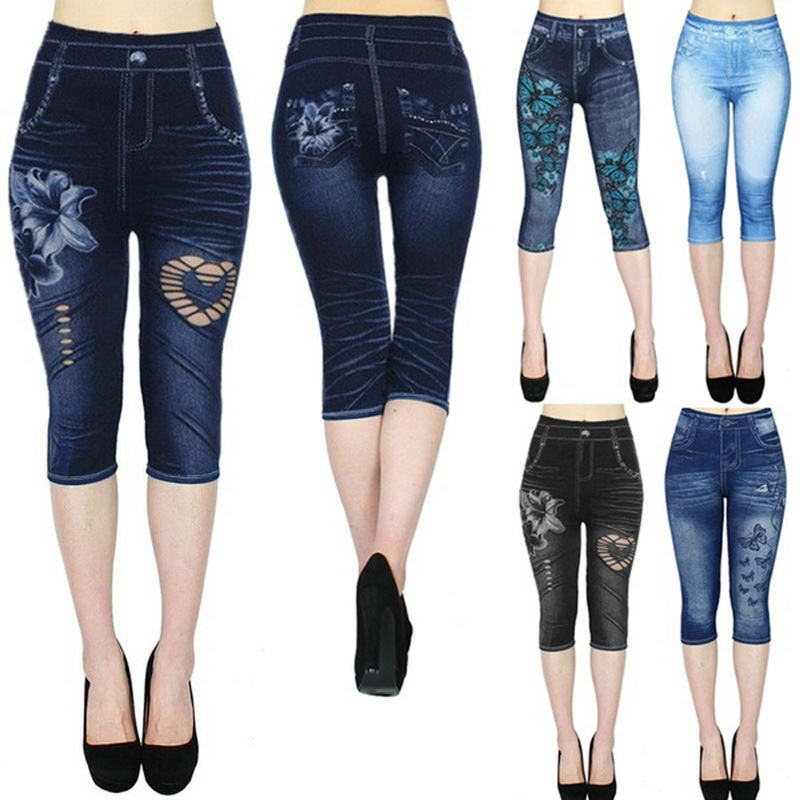 2020 Women's Leggings Jeans High Waist Printed Outwears Casual Half Length Printed Stretch CapriPants Autumn Hot Fitness Trouser