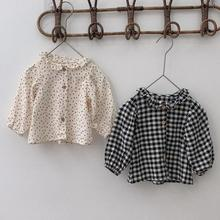 Blouse Shirt Baby-Girls Plaid Cotton Tops Long-Sleeve Floral Toddlers Autumn Boys Kids