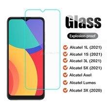 2-1 pçs vidro temperado para alcatel 5x 3l 3l 2021 axel lumos 3l 3x 2020 vidro protetor para alcatel 1s 2021 pelicula de vidrio