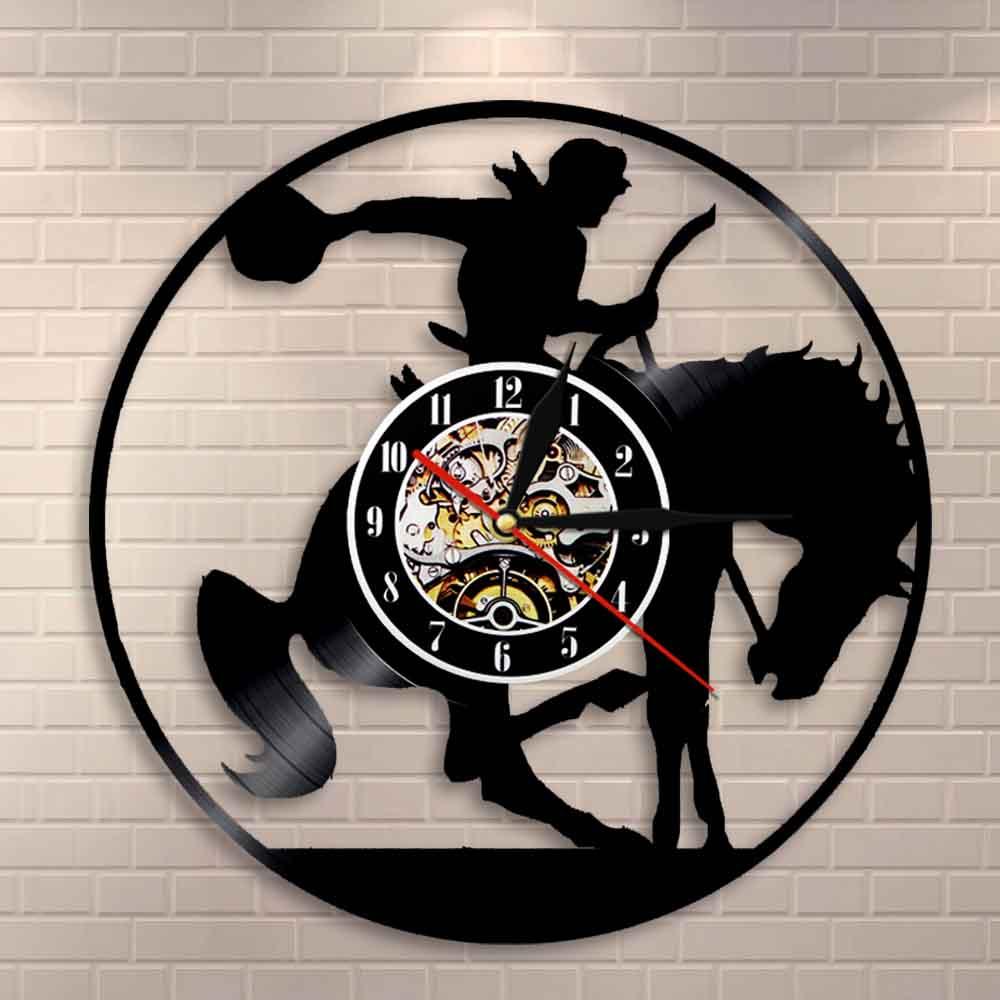 Cowboy Wall Art Clock Horse Rider