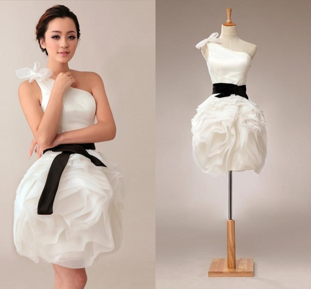 White Bling Cocktail Dresses One Shoulder Sexy Mini Party Short Dress Organza Above Knee 2020 New Homecoming Dress