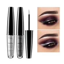 Pudaier Professional Shimmer Eyeliner Waterproof Silver Black Liquid Eye Liner Pigment Eyes Makeup Glitter Eyeliner Cosmetics