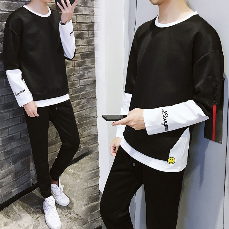 Fashion Man Hoodie Trousers A Set Long Sleeve Spring And Autumn Sports Leisure T-shirt Teenager Handsome Zhen Liang Jian Tao