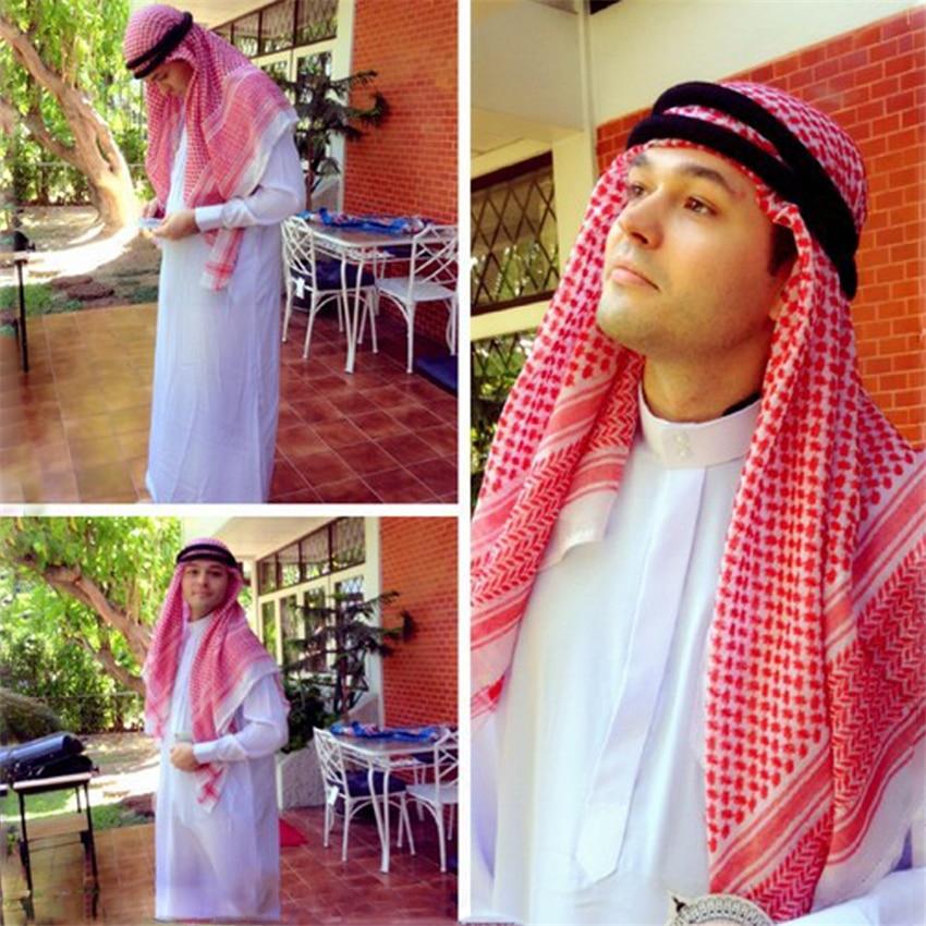 Saudi Arab Islamic Clothing Men Hijabs 3colors Abaya Middle East Plaid Hat Head Scarf  Caps 135*135cm Ramadan Pray Muslim India