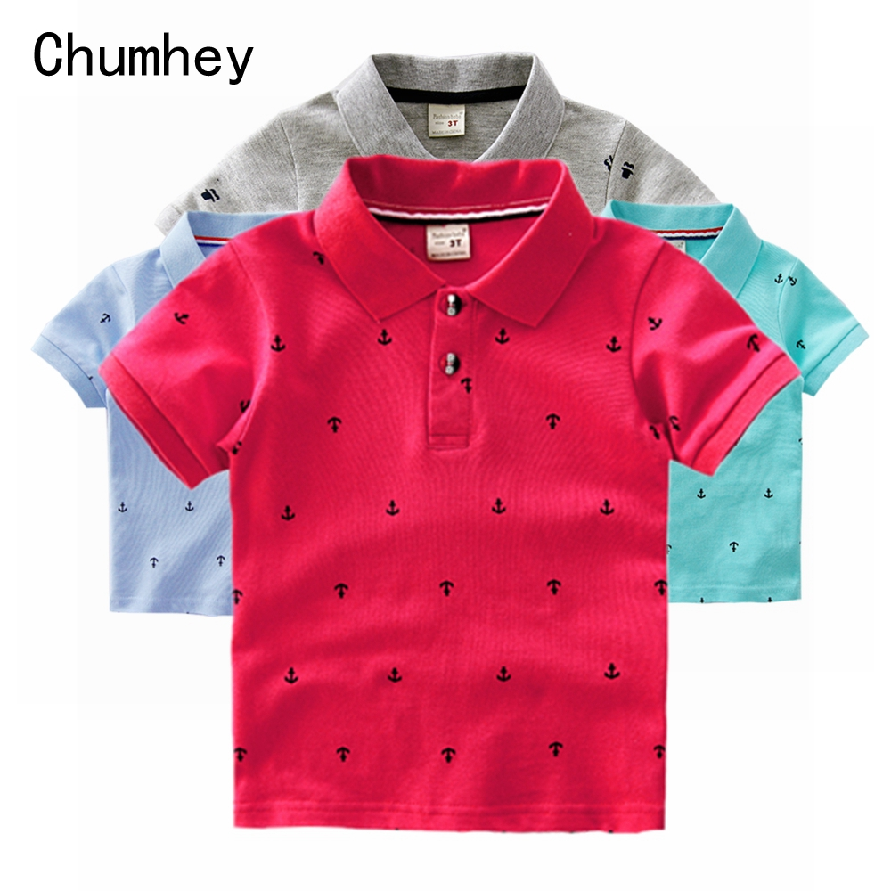 Chumhey 1-6T High Quality Summer Cotton Baby Shirts Cartoon Boat Kids Short Sleeve Clothes Bebe Boys Tops Toddlers Clothing