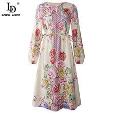 LD LINDA DELLA Fashion Designer Summer Mini Dress donna lanterna manica stampa floreale Vintage Ladies elegante abito da festa abiti