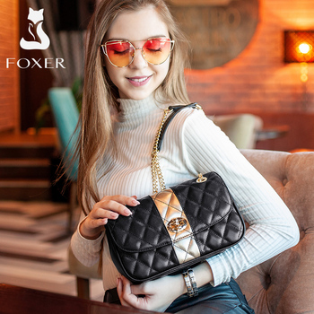 FOXER Women Chain Strap Messenger Bag Diamond Lattice Flap Lady High Quality Leather Ladies' Shoulder Bags Valentine's Day Gift foxer brand 2018 women s leather bag fashion crossbody bags for women chain bags girl shoulder bag gift for valentine s day