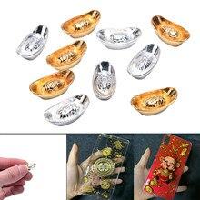 10 pçs/set Chinês Ornamento Sorte Yuanbao Lingote de Ouro Decoração de Metal Artesanato