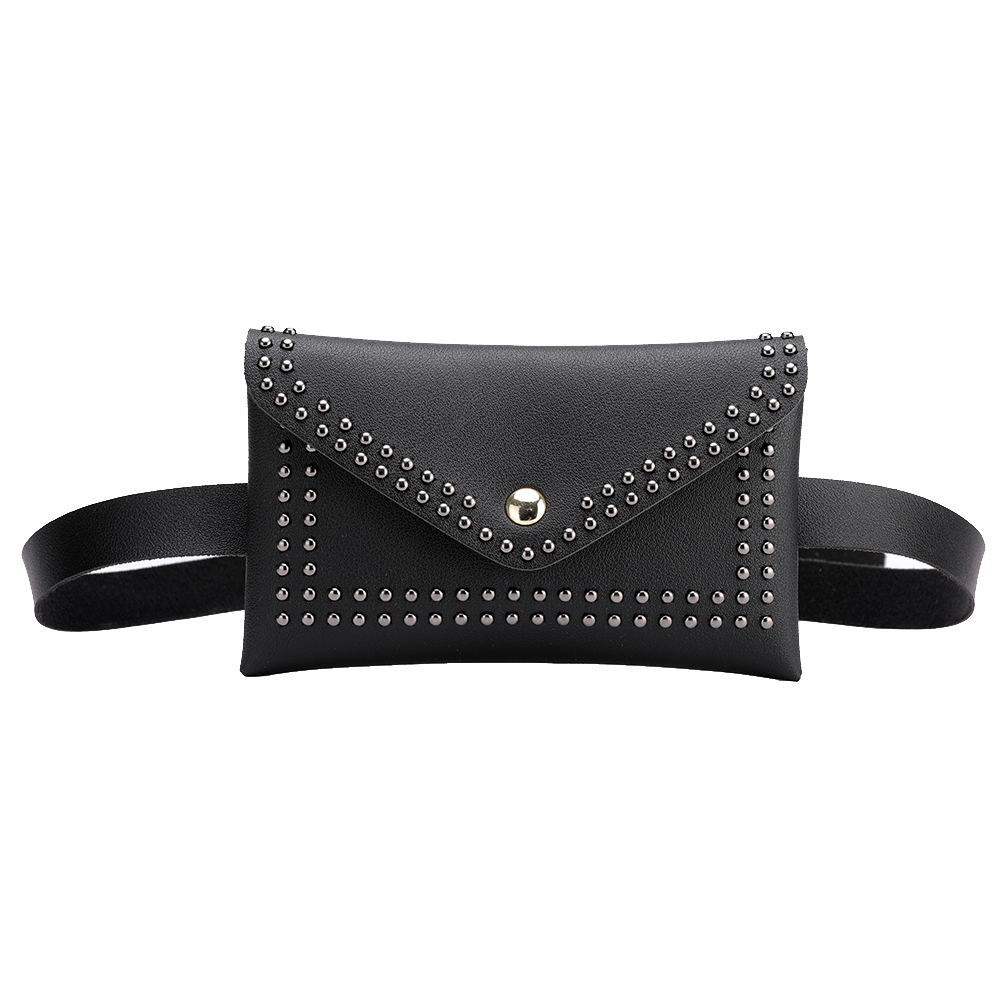 Fashion Women Belt Bags Solid Color Rivet Shoulder Waist Bags Women PU Leather Fanny Packs Casual Purse Wallet Chest Belt Bag