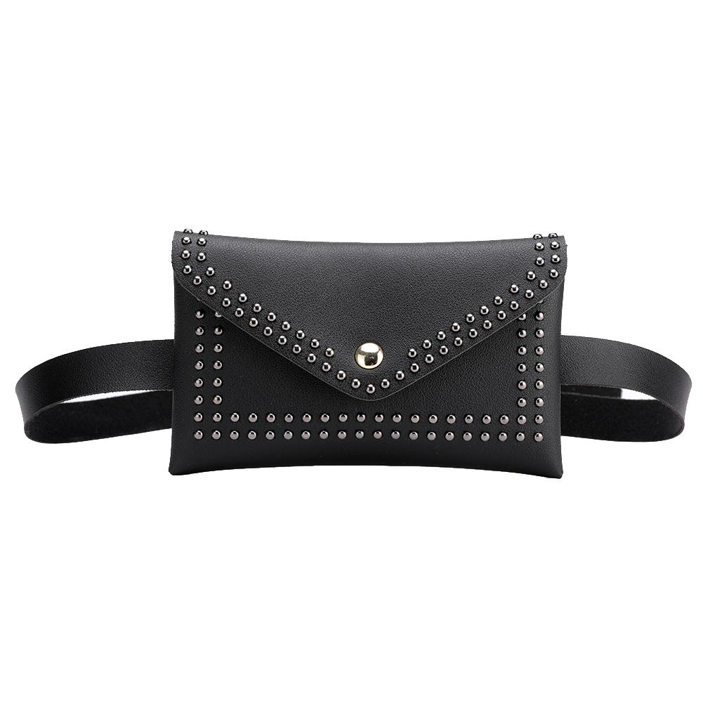 Fashion Women Belt Bags Solid Color Rivet Shoulder Waist Bags Women PU Leather Fanny Packs Casual Purse Wallet Chest Belt Bag