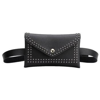 Fashion Women Belt Bags Solid Color Rivet Shoulder Waist PU Leather Fanny Packs Casual Purse Wallet Chest Bag