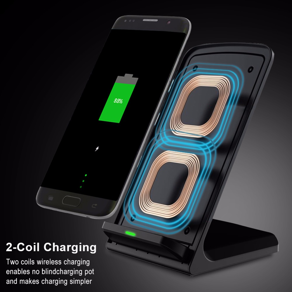 Brucebing Qi Wireless Charger Adapter QC 2.0 Quick Charge Dock Stand For iPhone 8 10 X Samsung S6 S7 S8 Plus Note5 Fast Charging 6