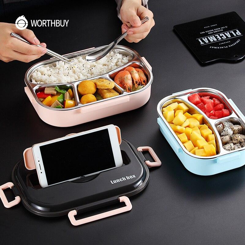 WORTHBUY Japanischen Kinder Mittagessen Box 304 edelstahl Bento Lunch Box Mit Fach Geschirr Mikrowelle Lebensmittel Behälter Box