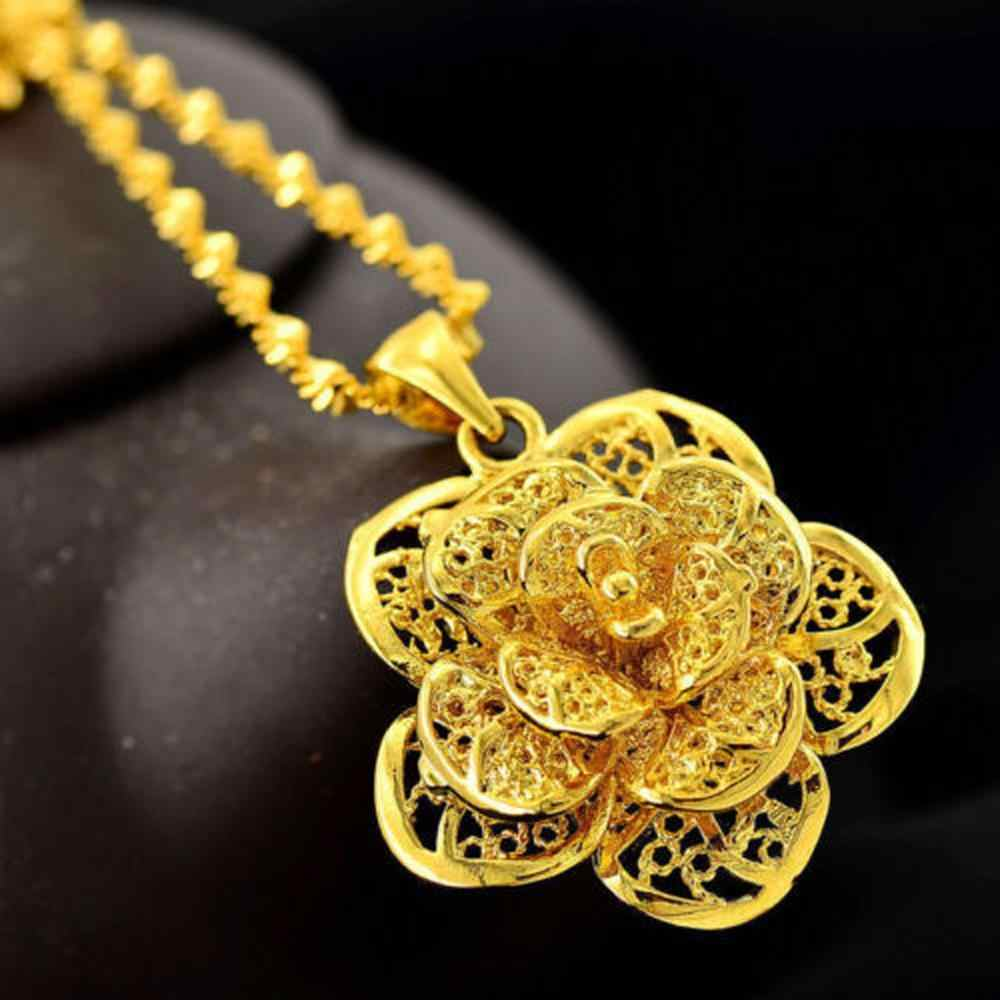נשים של תכשיטי ציפוי 24 k סוגים רבים של שרשרת תליון שרשרת מתנת פרח