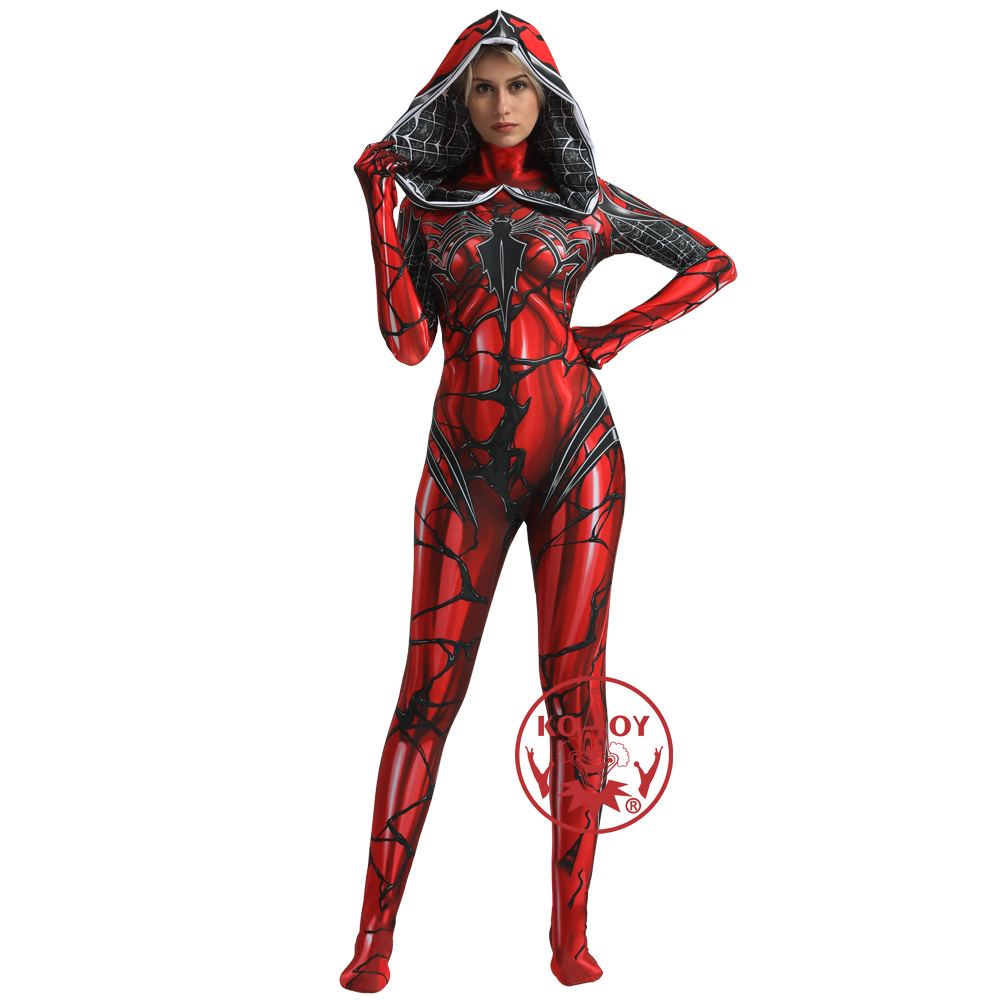 Gwen Stacy Costume de Cosplay venin Spiderman masque à capuche Lycra Zentai combinaison femmes super-héros body Halloween