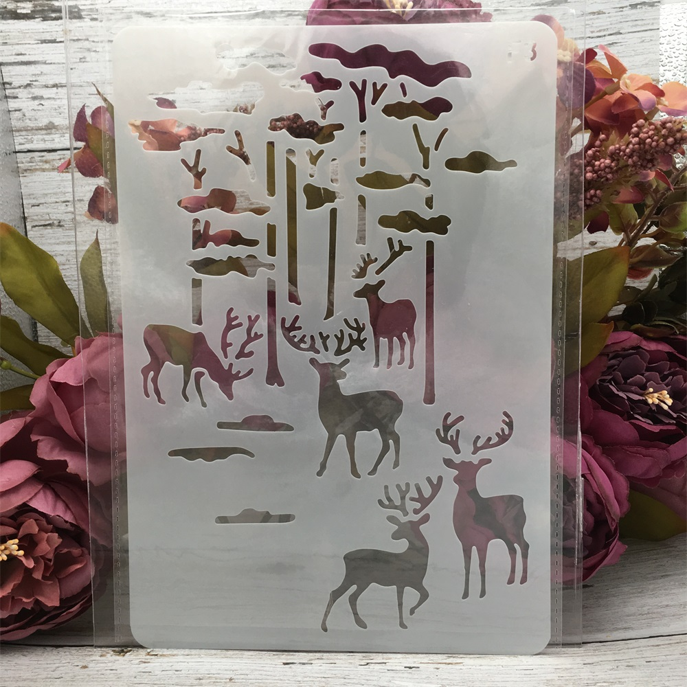 1Pcs 26*17cm Deer Forrest DIY Layering Stencils Wall Painting Scrapbook Coloring Embossing Album Decorative Card Template