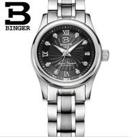 Mechanical Switzerland BINGER Women's Watches luxury Clock full stainless steel Waterproof Female Wristwatches gifts for women