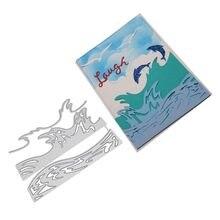Moule de découpe en métal, cadre de vagues de mer, Scrapbook, matrice de découpe en métal, carte de gaufrage, couteau artisanal, moule de lame, pochoirs