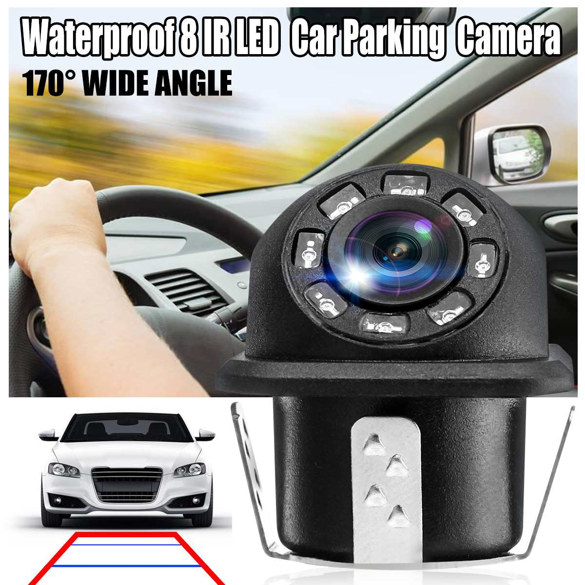 Car Auto License Plate Mount Rear View Backup Camera Waterproof 170 Degree Wide Angle With IR LED Night Vision
