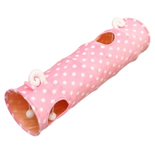 Collapsible Tunnel Interactive Pet Play Tube With Plush Ball Small Pets Toys N1HA
