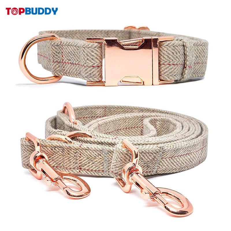 Fish Bone Pattern Woolen Cloth Fashion Dog Collar Rose Gold Buckle Set Cotton Soft Adjustable Suitable Large Dogs