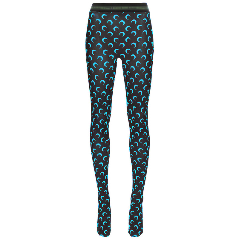 Solid Color Crescent Moon Print Leggings Summer Women Trousers European and American Hot Style Chic Bodycon Outfits S XL