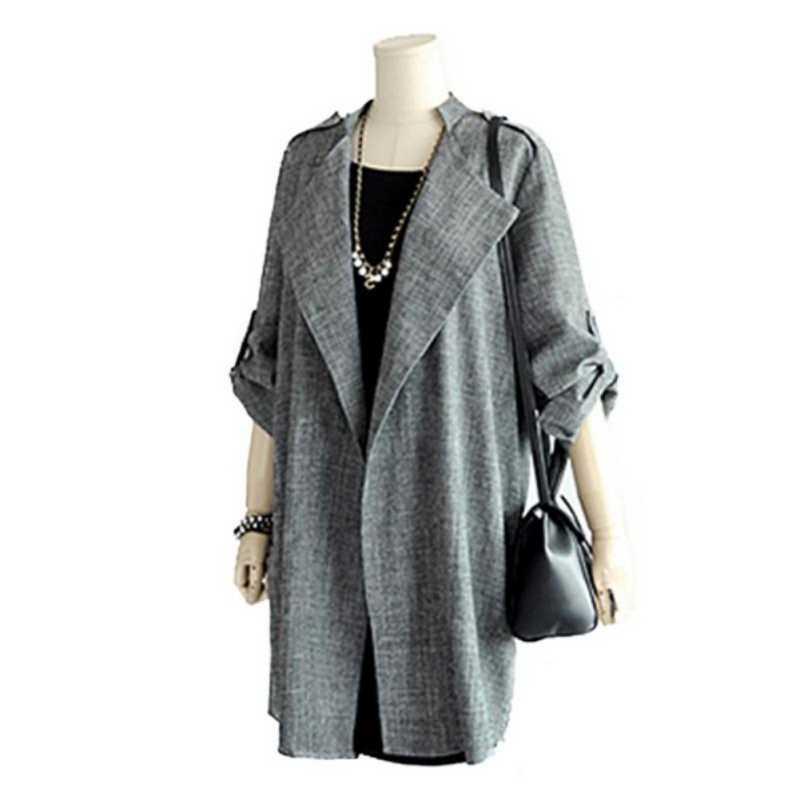 Herfst vrouwen Vest Wol Blends Vest Jas voor Dames Herfst & Winter Vrouwen Mode Lange Mouw Grijs Casual Jas