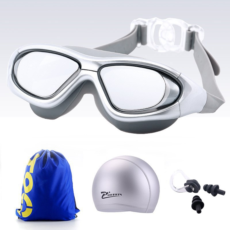 Women's Adult Industry Waterproof Anti-fog High-definition Glasses Goggles Swimming Goggles Men Big Box Electroplated Myopia Div