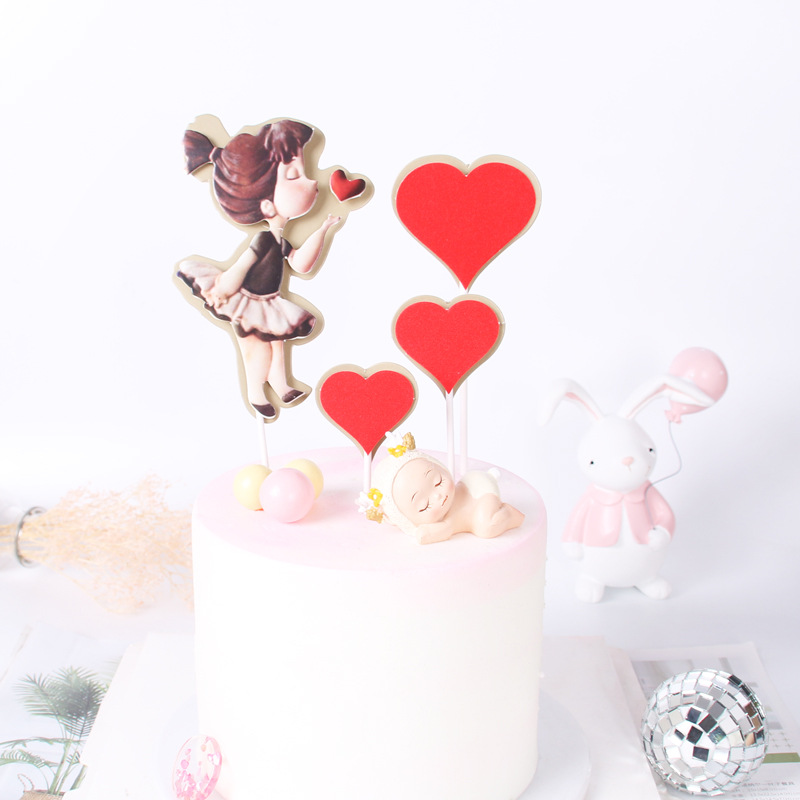 Cakelove <font><b>1</b></font> Set Sweet Little <font><b>Girl</b></font> Love Heart Cake Topper Sweet 16 Party <font><b>Decorations</b></font> <font><b>Girl</b></font> Happy <font><b>Birthday</b></font> Cake <font><b>Decorations</b></font> Party image