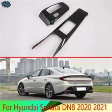 Для Hyundai Sonata DN8 2020 2021 углеродное волокно стиль переключения передач Панель центральная консоль крышка Накладка рамка Стайлинг автомобиля ст...
