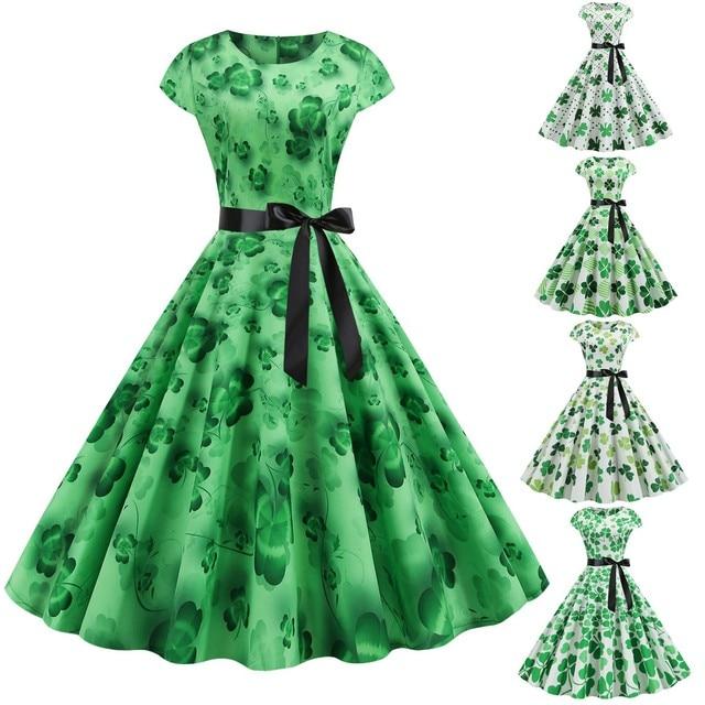 St. Patrick's Day Dress Women Saint Patrick Parades Irish Shamrock Retro Dress Lucky Four Leaf Clover Print Party Swing Dress 1