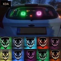 1 stücke LED Neon Auto Dekorative Licht Maske Partei Masken Purge Wahl Lustige Halloween Horror Cosplay Glow In Dark Masque