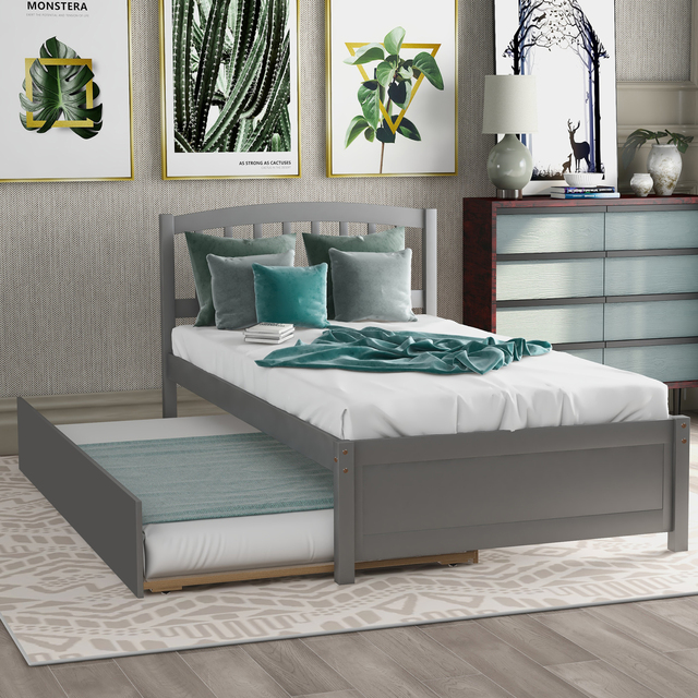 Twin Size Wood Frame Platform Bed 3