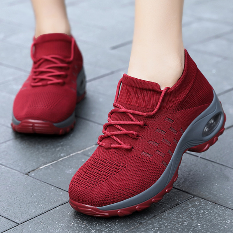 Retro-Red-Women-Shoes-Outdoor-Platform-Wedge-Shoes-Ladies-Sneakers-Sock-Shoes-Lace-up-Women-Tennis