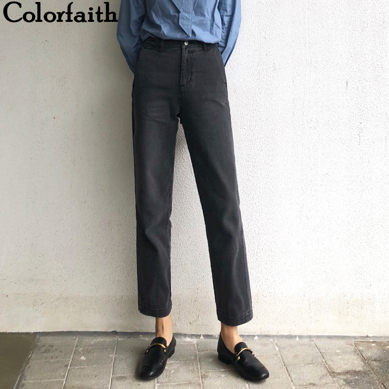 Colorfaith 2019 Women Jeans Zipper Straight Boyfriends Korean Style High Waist Ankle-Length Pants Vintage Denim Jeans J8001