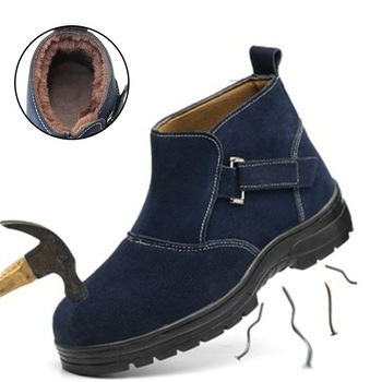 Faux Suede Men Autumn Winter Safety Shoes With Steel Toe Work Shoes For Men Safety Welding Shoes Anti-crush Anti-piercing Boots